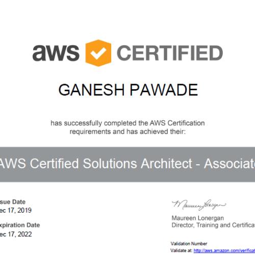 Ganesh Pawade aws certifed