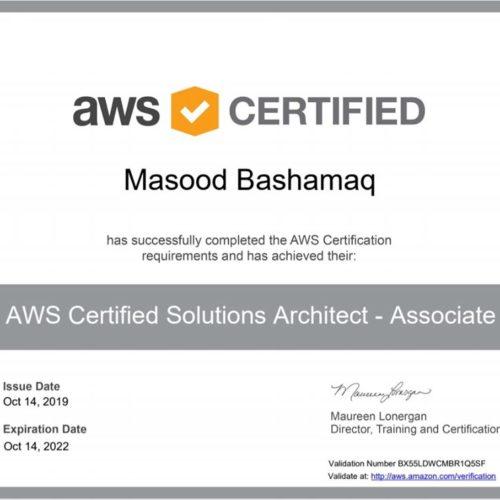 Masood Bashamaq aws certifed