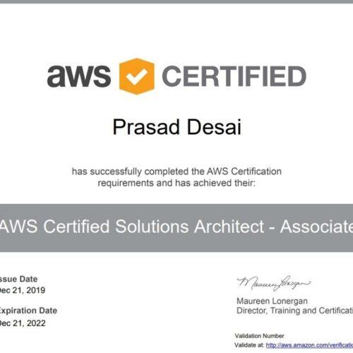 Prasad Desai aws certifed