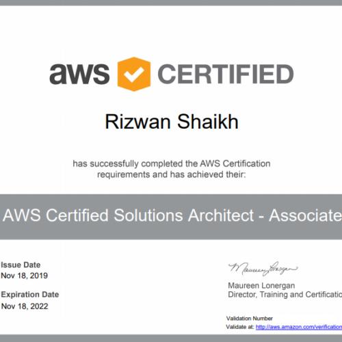 Rizwan Shaikh aws certifed
