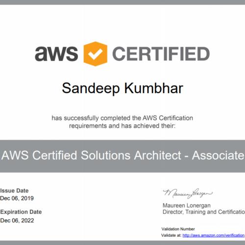 Sandeep Kumbhar aws certifed