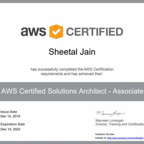 Sheetal Jain aws certifed