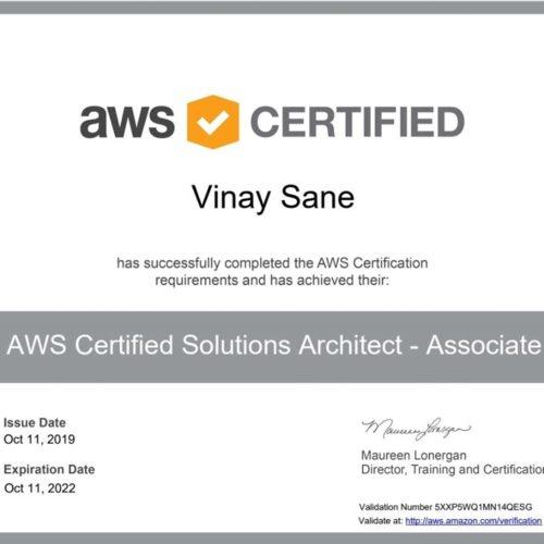 Vinay Sane aws certifed